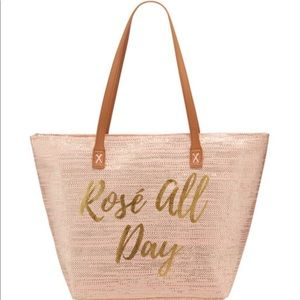 Rosé All Day Metallic Straw Tote Bag